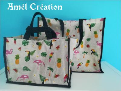 lot 2 sacs de plage  - mère/fille - modèle perroquet