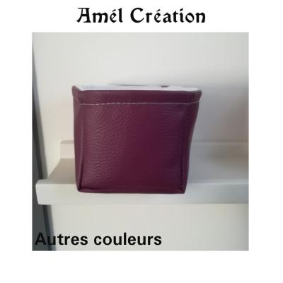 Petit panier cuir uni - différentes couleurs