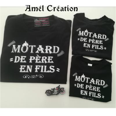 Ensemble TEE SHIRT OU BODY -  motard(e) de père en fils(fille)