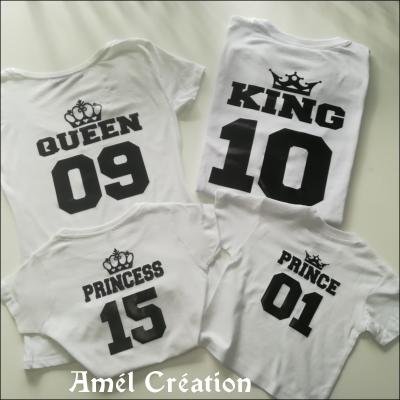 Ensemble TEE SHIRT OU BODY -  queen king prince princess