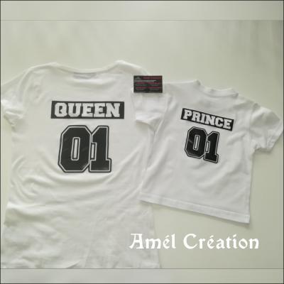 Ensemble TEE SHIRT OU BODY - prince/queen - numéro