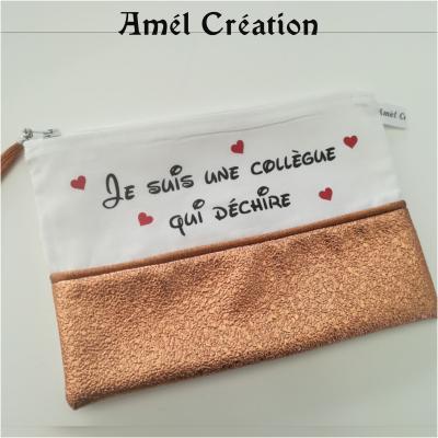 Pochette strass SAUMON et coton BLANC - texte et coeur