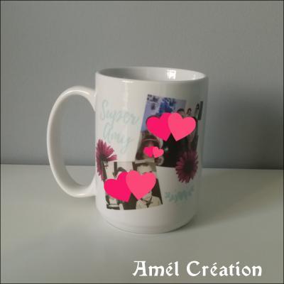 Grand MUG - modèle cadre et fleurs