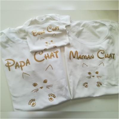 Ensemble de 3 TEE SHIRT OU BODY -  Famille CHAT