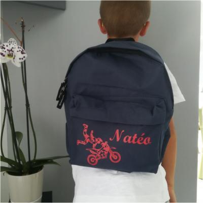 Mini sac à dos - modèle moto cross et prénom