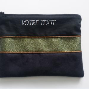 3 morceaux coton noi suedine noir et strass vert et biais marron a personnaliser