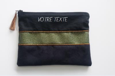 Pochette suédine noir strass et coton - à personnaliser