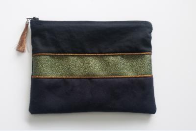 Pochette suédine noir strass et coton