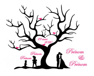 Stickers arbre empreinte mariage