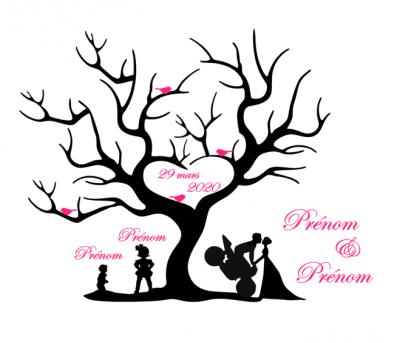 Stickers arbre empreinte mariage - moto