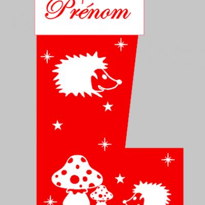 Chaussette de Noël - prénom + hérisson
