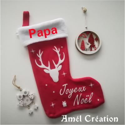 Chaussette de Noël - prénom + cerf et joyeux noël