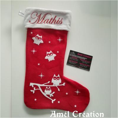 Chaussette de Noël - prénom + chouette et étoiles