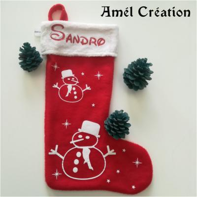 Chaussette de Noël - prénom + bonhomme de neige