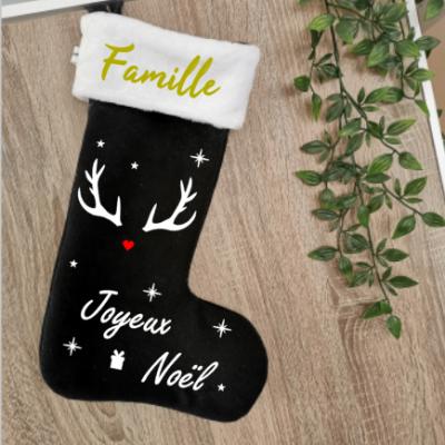 Chaussette de Noël Noir - prénom + tête de cerf et joyeux noël