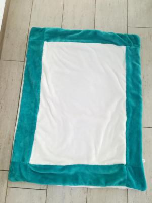 Couverture bleu vert  et blanche à personnaliser - différentes coloris