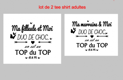 Ensemble 2 TEE SHIRT ADULTE - duo de choc