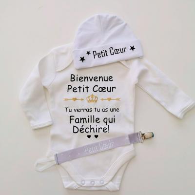 Lot Petit coeur - Body + bonnet + attache tétine