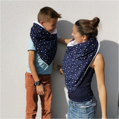 Lot de 2 - Motif étoiles blanches tissu bleu -- Très grande Echarpe/Châle/Chèche (enfant et adulte)