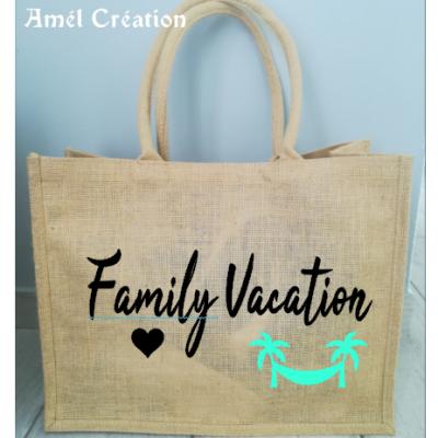 Grand cabas toile de jute Family Vacation double palmier