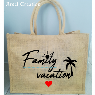 Grand cabas toile de jute Family Vacation