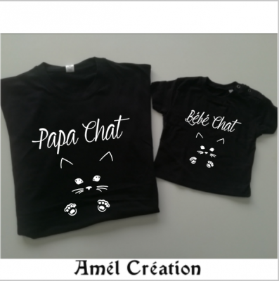 Ensemble de 2 TEE SHIRT OU BODY -  Famille CHAT