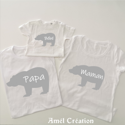 Ensemble de 3 TEE SHIRT OU BODY -  Famille OURS