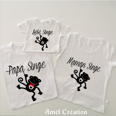Ensemble de 3 TEE SHIRT OU BODY -  Famille SINGE