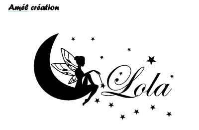 Stickers fée sur lune personnalisé