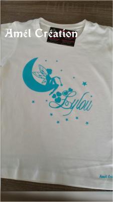 Tee shirt MC - fée sur lune et prénom
