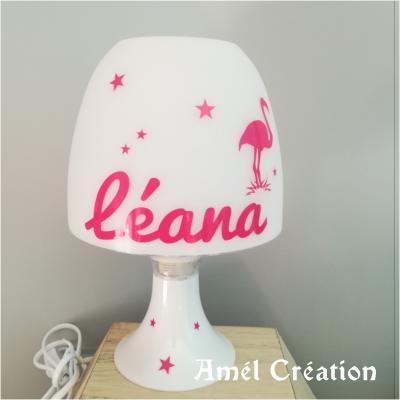 Lampe de chevet - flamant rose et étoiles