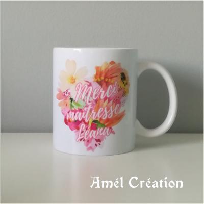 MUG classique - modèle coeur fleurs à personnaliser