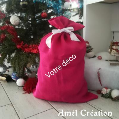 Hotte de Noël XL - Toile de jute rose - déco au choix