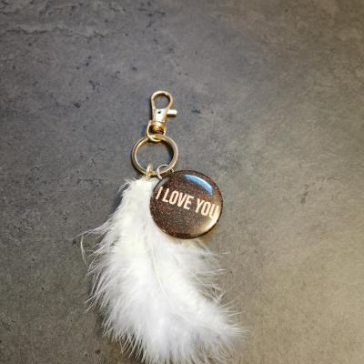 Porte clé plume et I love you