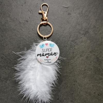 Porte clé plume SUPER MAMAN et prénom