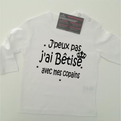 Tee shirt ML - J'peux pas j'ai bêtise avec ....