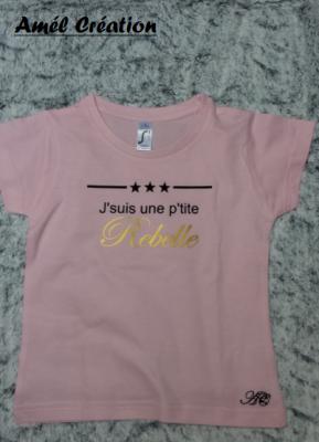 Tee shirt enfant MC - J'suis un(e) p'tit(e) rebelle comme ...