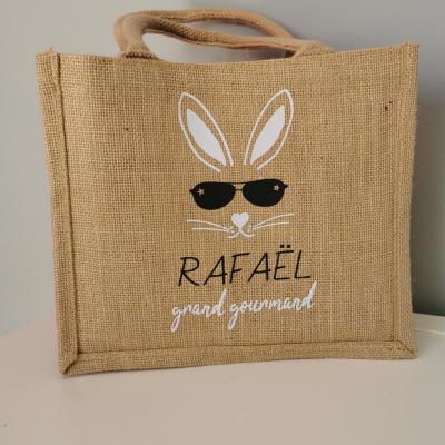 Petit Cabas toile de jute - Modèle lapin lunette