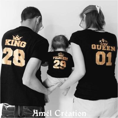 Ensemble  3 TEE SHIRT OU BODY -  queen king prince(s)