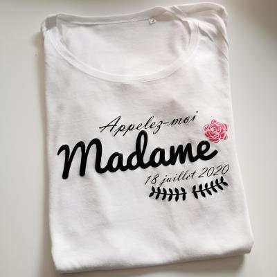 Tee shirt MC femme - Appelez moi Madame et date naissance