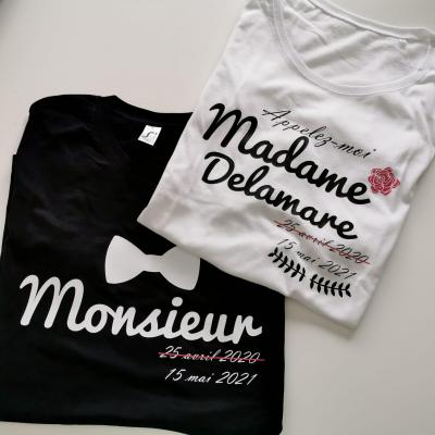 Ensemble TEE SHIRT - Monsieur, Madame NOM et date barrée