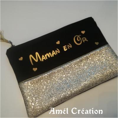 Pochette strass OR et coton NOIR -  Maman en OR