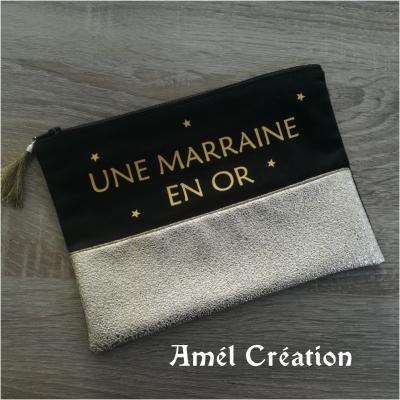 Pochette strass OR et coton NOIR -  Marraine en or et étoiles