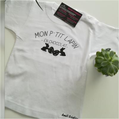 Tee shirt MC - Mon p'tit lapin en chocolat