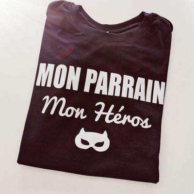 Tee shirt MC homme -  Mon parrain (ou autre mot) - mon héros