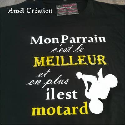 Tee shirt MC homme - Mon parrain c'est le meilleur et en plus il est motard