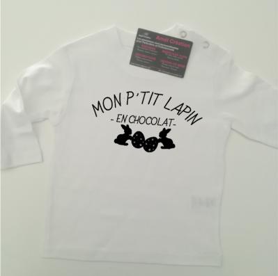Tee shirt ML - Mon p'tit lapin en chocolat