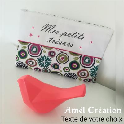 Pochette motif ROSE et coton blanc -  texte à personnaliser + étoiles