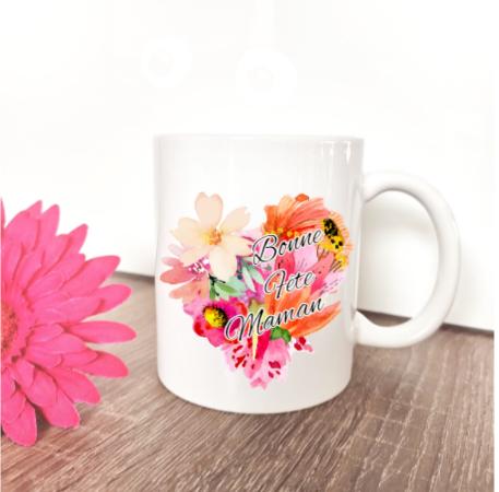 Mug coeur fleur