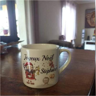 Petite tasse NOEL - lutin joyeux noel et prénom